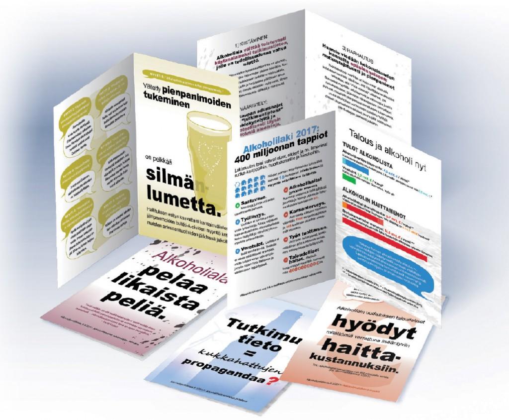Alkoholipolitiikkaa.fi-julkaisun painettu versio koostuu kolmesta esitteestä. Kuvassa näkyy jokaisesta kansi ja sisäaukeama.